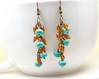 Bohemian Chandelier Earrings, Boho Turquoise Blue and Brown Beaded Dangles, Topaz Swarovski Crystals