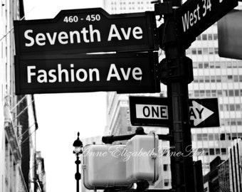 Fashion Ave Art-Seventh Ave -New York City Photography -Black & White- Fashion Photography - Fashion Art -Street Sign-Dorm-Teen-Girl-Nursery
