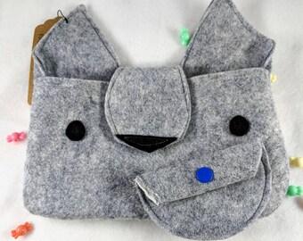Grey Wolf felt clutch with coin purse