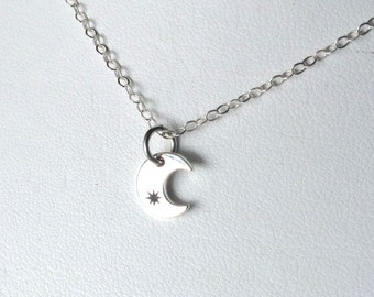 Tiniest Crescent Moon and Star Charm Sterling Silver Necklace Jewelry Tiny