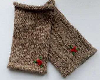 knit brown leg warmers for girl, alpaca wool leg warmers, brown leg warmer