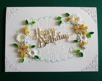 Quilled Birthday Card Handmade can be Personalised