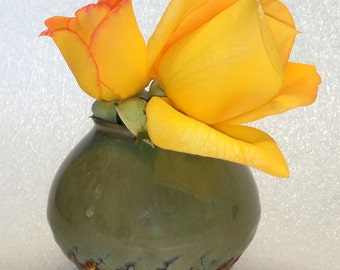 Green and Amber Wheel Thrown Pottery Bud Vase - Avant Garde Bud Vase