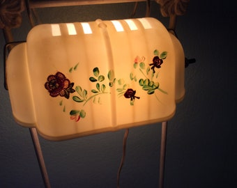 Art Deco Celluloid  Headboard Bed Lamp, Hand Painted, Cream Colored, Great Condition!