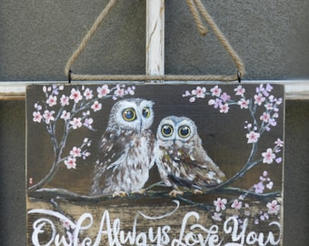 Mothers day gift, Owl always love you, Owl decal, Owl painting, Owl art, Owl decor, Owl decoration, Owl always love you wall art, Owl gifts