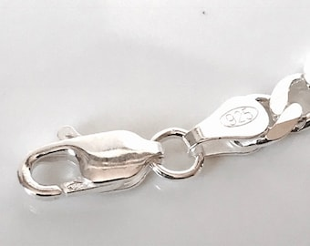Sterling Silver Curb Bracelet/ highly polished/solid silver