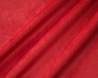 Red Minky by the Yard, Shannon Fabrics Cuddle 3 Red