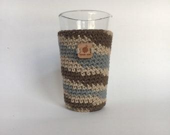 Pint Glass Cozy, Shoreline Ombre - beer cozy -  drinking glass cozy - cold cup cozy - pint glass sleeve - crochet cup sleeve - crochet gifts
