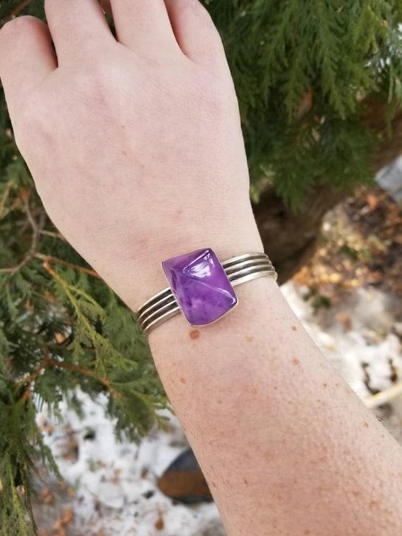 Geometric Amethyst Silver Cuff, Handmade Sterling Purple Amethyst Bracelet