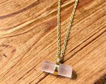 """Rose Quartz Bar Dainty necklace  14kt gold filled 16-18"""" adjustable chain"""