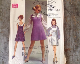Vintage Simplicity Sewing Pattern 8614 Misses' Size 14 Bust 36 Jumper Dress Blouse