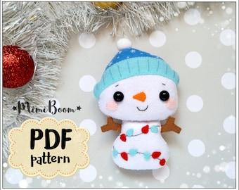 Snowman ornament Christmas pattern felt Snowman pattern PDF Christmas ornaments felt pattern Snowman sewing tutorial Christmas DIY ornaments