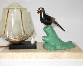 Parrot Table Lamp. Vintage French Mood Lamp. Marble Based Desk Light.  Spelter Parrot