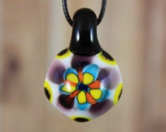 Flower Pendant, Flower Necklace, Glass Pendant Necklace, Flower Jewelry, Glass Flower, Abstract Flower, Spring Jewelry, Spring Necklace