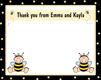 20 Personalized Thank you Cards  -   LITTLE BUMBLE BEE Birthday Party