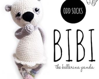 PATTERN ONLY: Odd socks Bibi - the ballerina panda, crochet pattern