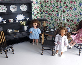 """Vintage Dining Room with Gilded, Handmade Doll Furniture for Mini American Girl Dolls, plus Blythe, Licca, Lottie and other 7""""-10"""" dolls"""