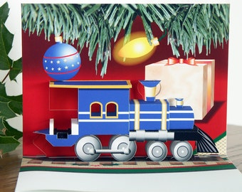 Pop up Christmas card 3D Blue Train Engine card