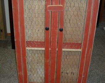 Rustic Red Chicken Wire Cabinet
