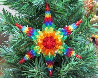 Large Rainbow Star Christmas Ornament