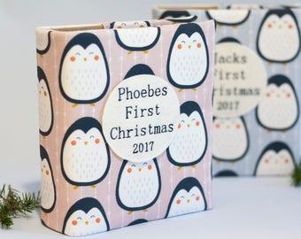 Babys first Christmas photo album, penguins, baby gift photo album, personalised photo album, baby keepsake