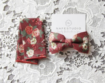 Mens Bow Tie Floral Bow Tie for Men - Rustic Flower Bow Tie - Pre-tied Bow Tie - Boho Wedding Gift  Groomsmen Gifts