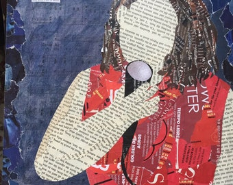And What's Left Is Music -original mixed media collage