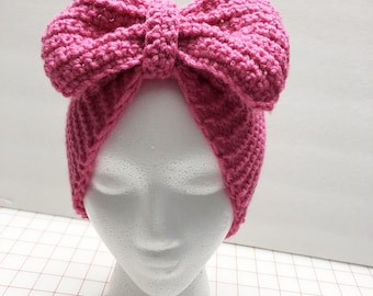 Girls Knit Bow Headwrap, Pink Headband, Ear Warmer, Fall,Winter, Christmas Gift, Gift For Her