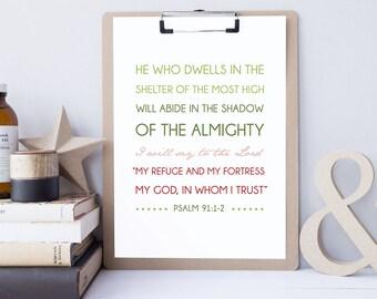 Psalm 91:1-2 - Bible Verse Art - Scripture Print - Bible Verse Typography - Psalm Art