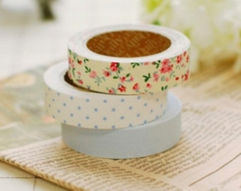 3 Set - First Love Flower Dot Blue Adhesive Fabric Tapes (0.6in)