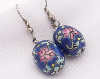 Enamel Over Porcelain Dangle Earrings Cloisonne Style Flowers Floral Ear Wires, Gifts for Her, Mother's Day