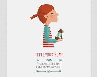 """Ilustración """"Pippi Calzaslargas"""". Basada en la obra de Astrid Lindgren."""