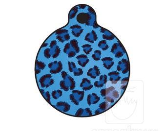 Blue Leopard Print Dog ID tag - Blue Leopard Print dog ID tag - 2 sided aluminum full color ID tag