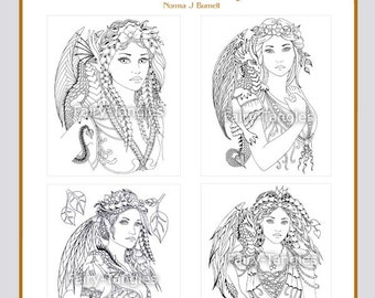 There Be Dragons Printable Digital Coloring Book by Norma J Burnell Dragons and Fairies to Color Fairy Dragon Adult Coloring for Grownups