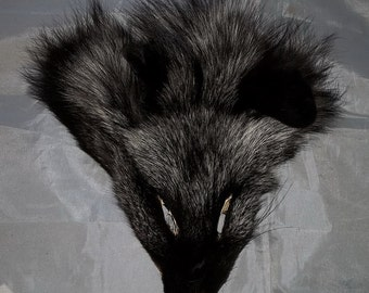 """Genuine Real, Dark Silver Fox Face - Taxidermy,Pelt,Crafts,Rendezvous,Tanned,""""NEW"""""""