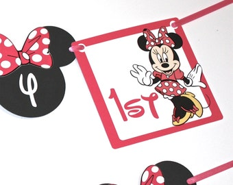 PINK or RED Minnie Mouse Banner Ships FAST  Birthday Party Banner, Happy Birthday Minnie Mouse Party Decorations Photo Prop