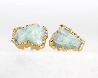 jade studs   turquoise studs   crystal stud earrings   natural stone studs   raw gemstone studs   amazonite studs   raw amazonite earrings