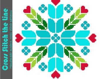 Retro folk cross stitch pattern of tulips and hearts. Contemporary mandala design. Modern embroidery chart. Barge art pattern. Canal art.