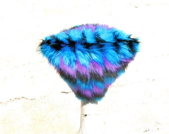Blue Parallelogram Kozy Kitty Hat - Turquoise Purple Black Geometric fuzzy Faux Fur hat Raver hat Women Men S M L XL  Burning Man Blacklight