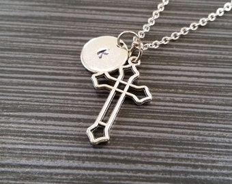 Silver Hollow Cross Necklace - Silver Charm Necklace - Personalized Necklace - Custom Initial Necklace - Cross Gift - Christian Necklace