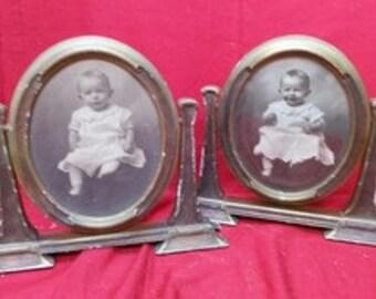 2 Antique Wood Gesso Mission Era Baby Picture Frames Wooden Gesso Vintage Old
