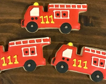 Firetruck Decorated Sugar Cookies