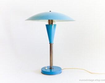 Vintage Mushroom Table Lamp 50s 60s / Blue Desk Lamp / Large Mushroom / MidCentury Lamps