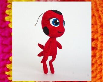 Amigurumi pattern. Kwami Tikki LadyBug. Crochet Ladybug cartoon toy. Miraculous ladybug. Kids toy. Tikki crochet pattern. Humaniod toy. DIY