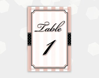 Paris Themed Table Number Cards - 1-30 - Birthday Party Shower Cocktail - DIY Printable - Instant Download