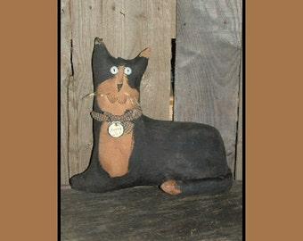 Primitive black and white folk art cat doll instant download pattern HAFAIR OFG