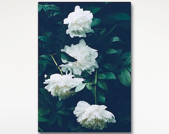 Peony Canvas Print, White Flowers, Green Decor, Floral Wall Art