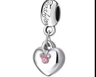 Pandora charms disney fashion mickey mouse love heart crystals charm for all Pandora charm bracelets pandora necklaces silver