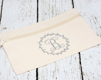 Monogrammed Makeup Bag, Wreath Design