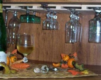 Wooden Under Cabinet Micro Wine Glass Rack 26 Inches Long